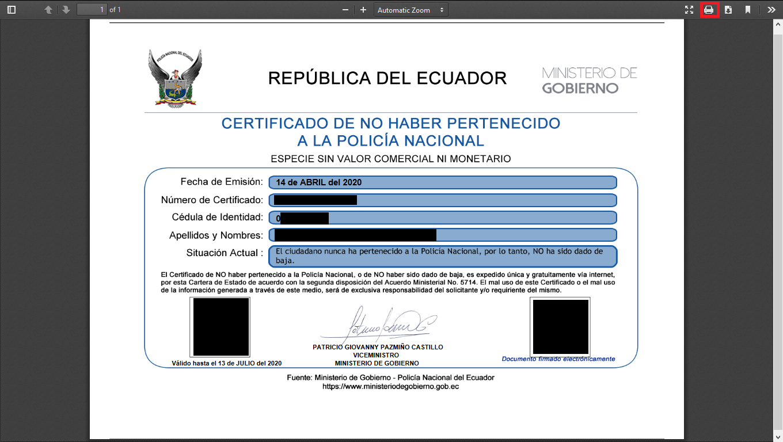 Imprimir certificado de no haber pertenecido a la Policía Nacional PDF