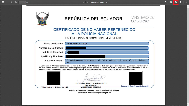 Certificado No Pertenecer A La Policia Nacional 15