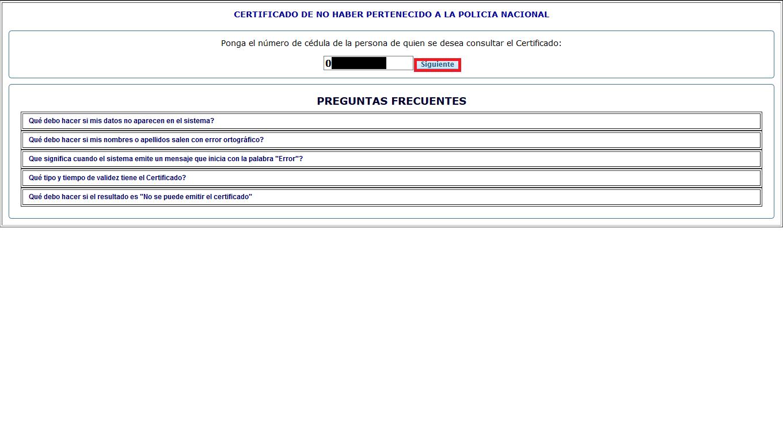 Botón siguiente consulta Certificado de no pertenecer a la Policía Nacional
