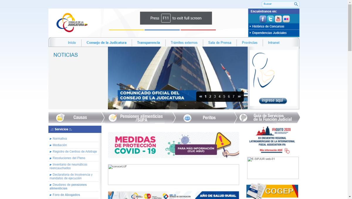 Sitio web Consejo de la Judicatura