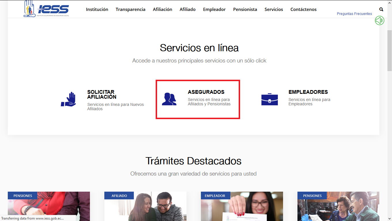 Servicios en línea IESS Asegurados