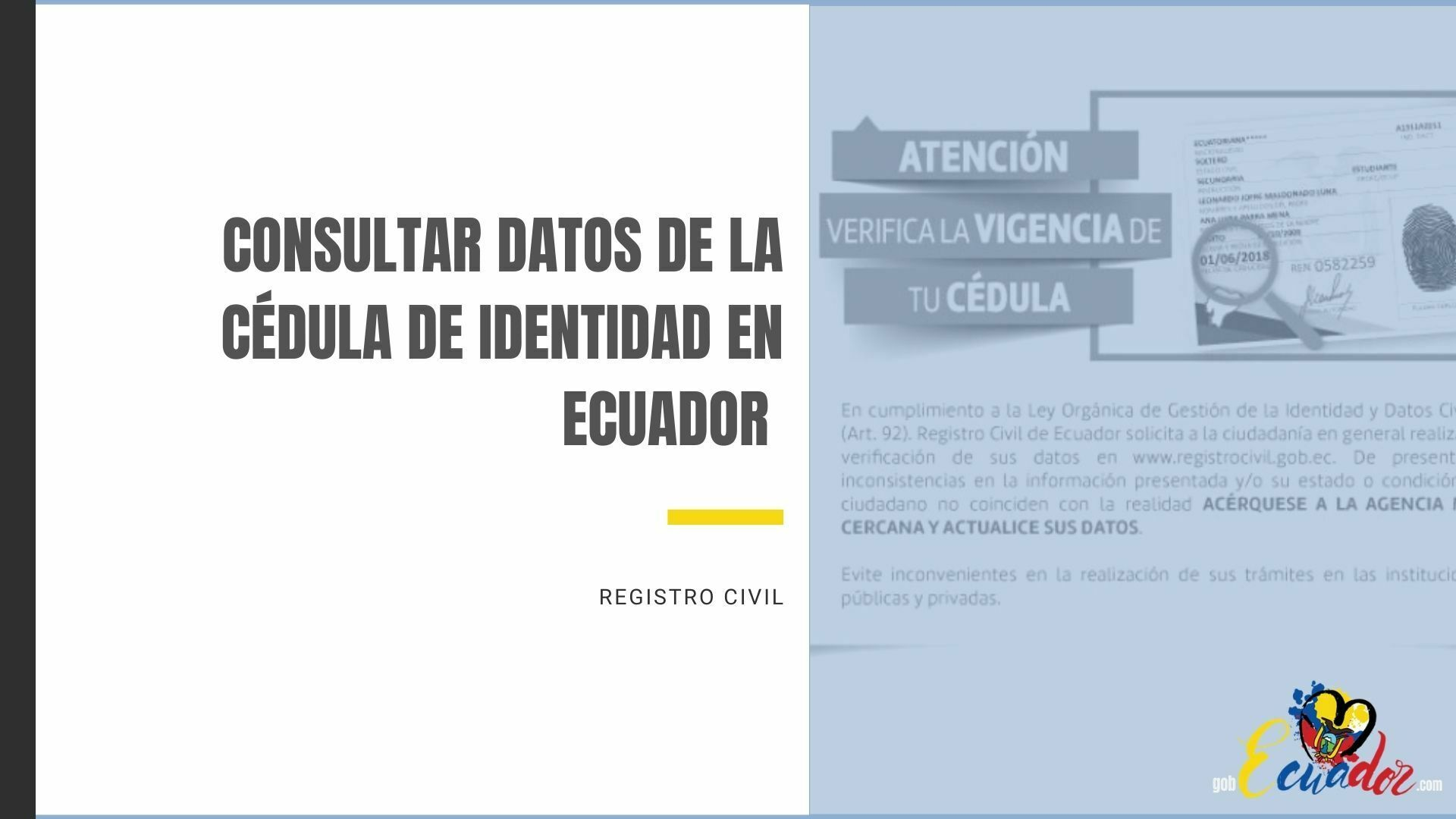 Consultar datos de la Cédula de Identidad en Ecuador Registro Civil